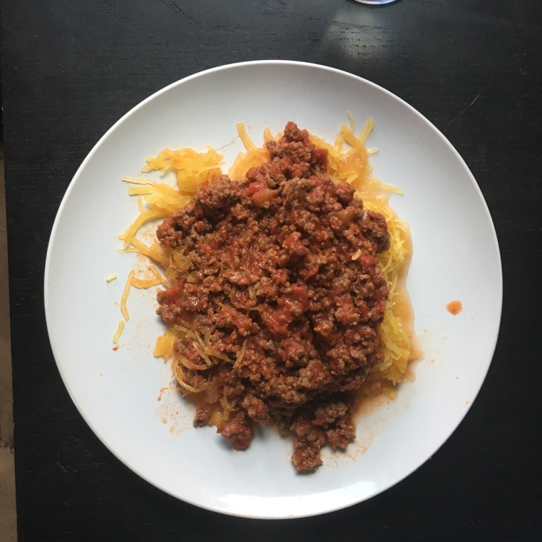 OMP: spaghetti squash and meat sauce: www.superheroliving.blog